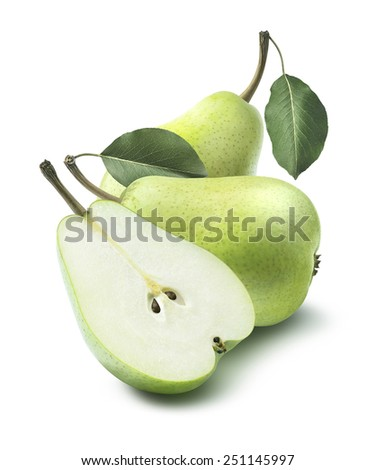Green group pears, whole and half, composition isolated on white background as package design element - stock photo