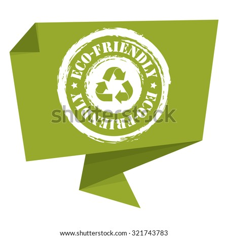 Green Grunge Eco-Friendly Paper Origami Speech Bubble or Speech Balloon Infographics Sticker, Label, Sign or Icon Isolated on White Background - stock photo