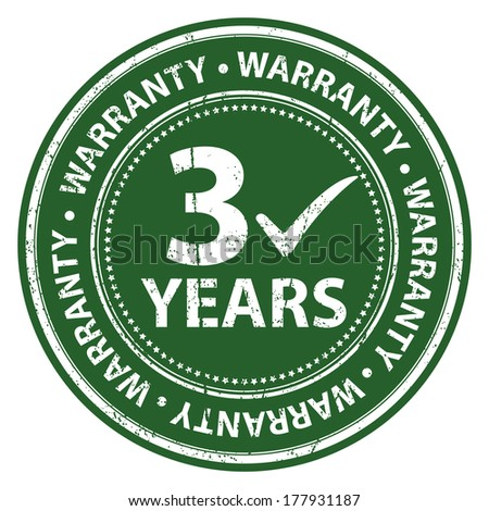 Green Grunge Style 3 Years Warranty Icon, Badge, Label or Sticker for Product Warranty, Quality Control, Quality Assurance, Quality Management, CRM or Customer Satisfaction Concept Isolated on White - stock photo