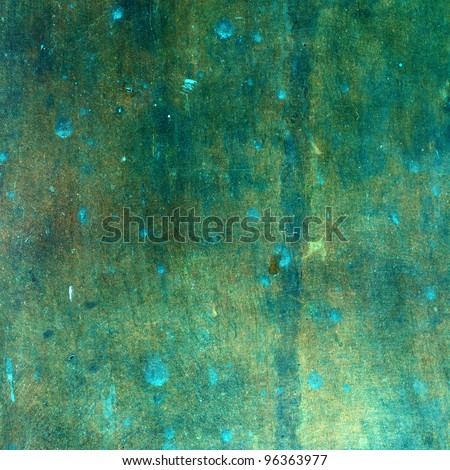 Green grungy copper texture - stock photo
