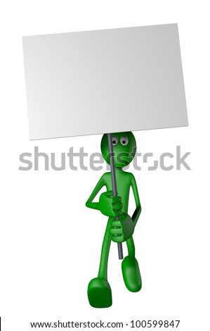 green guy and blank banner - 3d illustration - stock photo