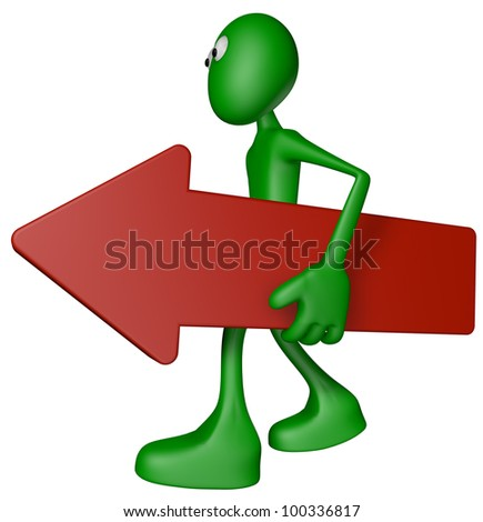 green guy carries red arrow - 3d illustration - stock photo