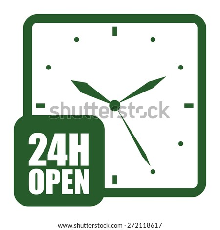 Green 24H Open, Open 24 Hours or Service 24 Hours Label, Sign or Icon Isolated on White Background - stock photo