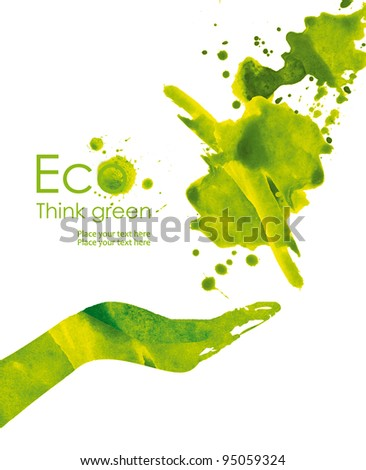 Green hand print made from leaves of paint. Think Green. Ecology Concept. - stock photo