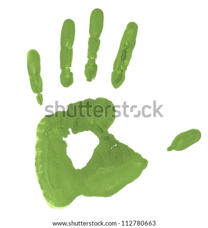 green handprint colored inks - stock photo