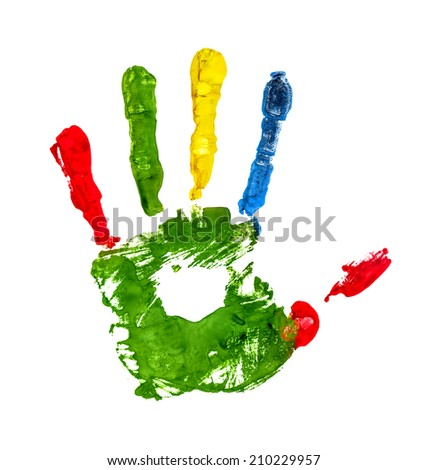 green handprint with colored fingers on an isolated white background - stock photo