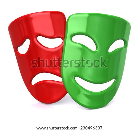 Green happy and sad red masks - stock photo