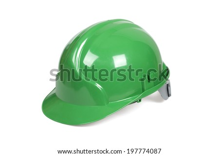 Green hard hat isolated on white with clipping path. - stock photo