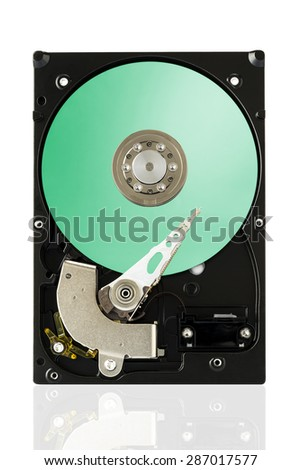 Green Harddisk Drive on white isolated background with clipping path. - stock photo
