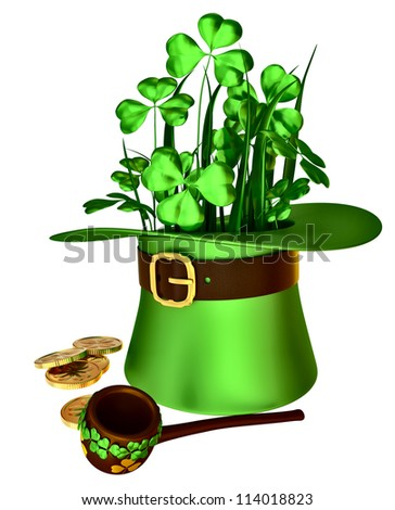 green hat, shamrocks and set of gold coins as a symbol of wealth - stock photo