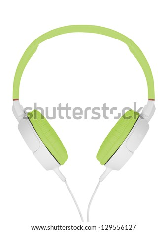 Green headphones on white background - stock photo