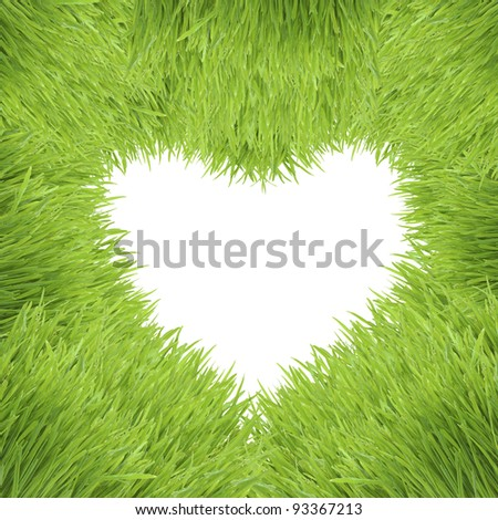green heart isolated on white background, grass photo frame - stock photo