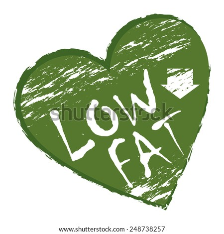 Green Heart Shape Low Fat Sticker, Icon or Label Isolated on White Background  - stock photo