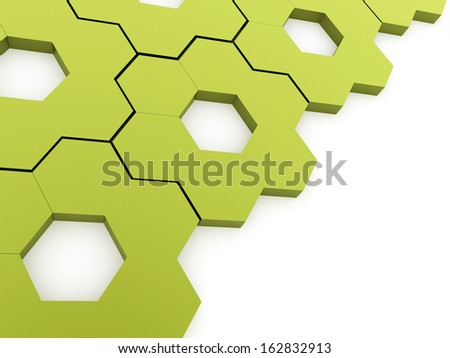 Green hexagonal gears background on white - stock photo