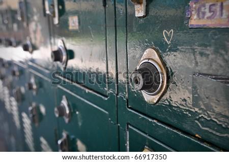 Green High School Locker Close Up - stock photo