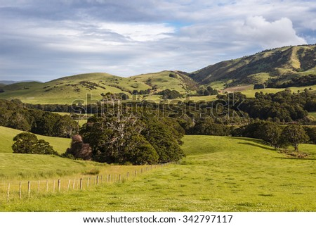 Green Hills, Catlins, South Island, New Zealand - stock photo