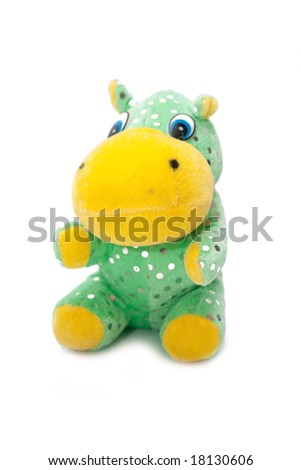 green hippopotamus toy isolated on white - stock photo