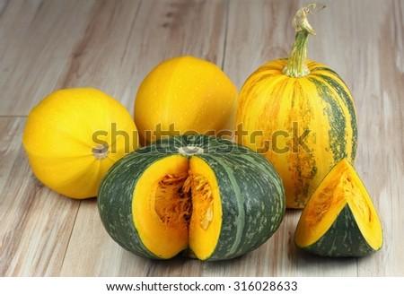 Green hokkaido, spaghetti squash and oil pumpkin - stock photo