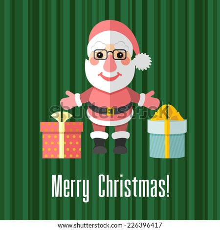Green holiday Christmas card with Santa Claus and presents - stock photo
