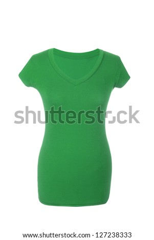 Green Hollow Female T-Shirt, isolated on white background - stock photo