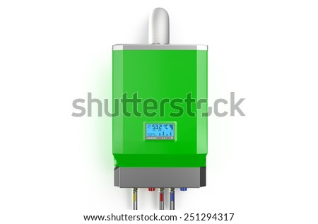 Green home gas-fired boiler,  water heater isolated on white background - stock photo