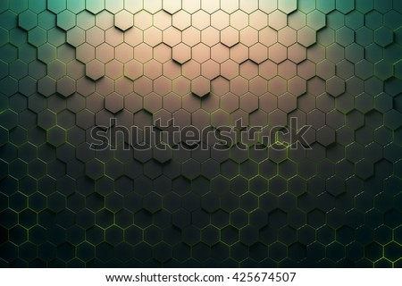 Green honeycomb pattern. 3D Rendering - stock photo