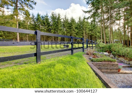 Green horse farm pasture with steps in the forest with black fence. - stock photo