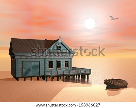 Green house at the beach near a wood boat by sunset with flying bird - stock photo