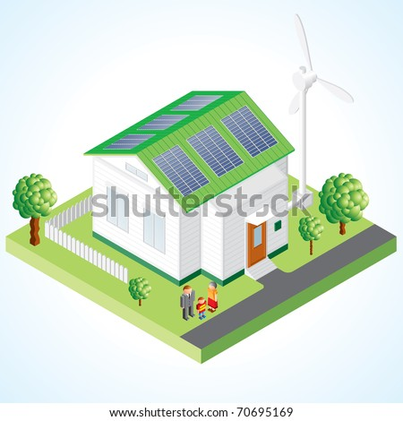 Green House concept - Isometric composition of small house with ecological equipment - solar cells and wind turbine - stock photo