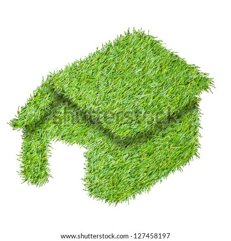 Green house from the grass, isolated on white - stock photo