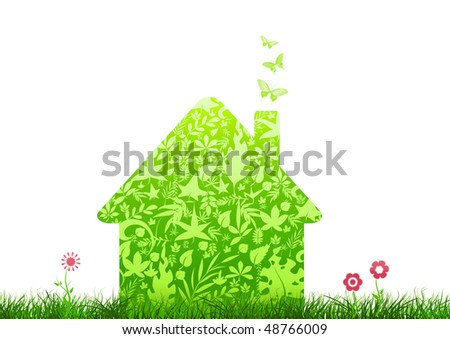 green house nature ecology architecture on white background with flowers - stock photo