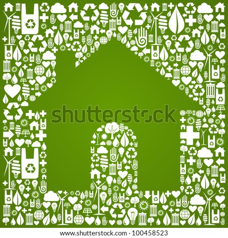 Green house symbol over environment icons background. - stock photo