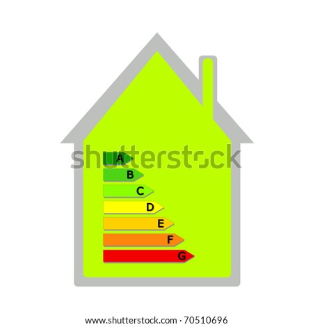 Green House with energy classification - stock photo