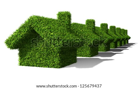 green houses ecology isolated on withe background - stock photo