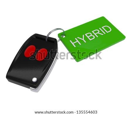 Green Hybrid Car Key - 3d illustration - stock photo