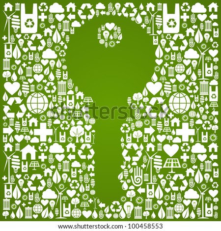 Green icons set in key symbol background. - stock photo