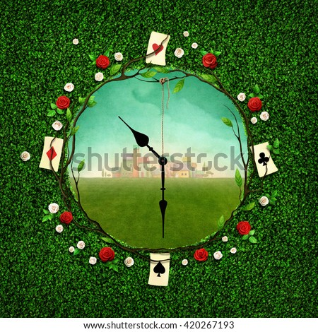 Green illustration with  hole in the form of clock - stock photo