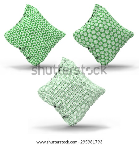 green Interior design elements Decorative pillow set  with geometrical patterned pillowcase , Isolated on white. - stock photo