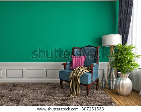 green interior with chair and lamp. 3d illustration - stock photo