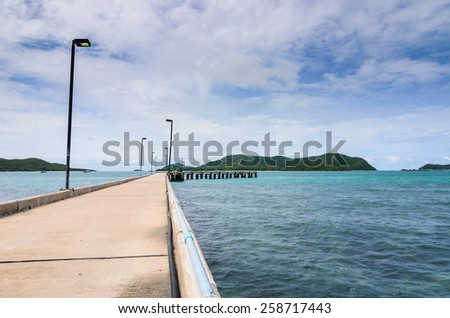 Green island road concrete and sea nature landscape in Thailand - stock photo
