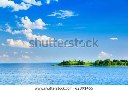 Green Island Seascape - stock photo