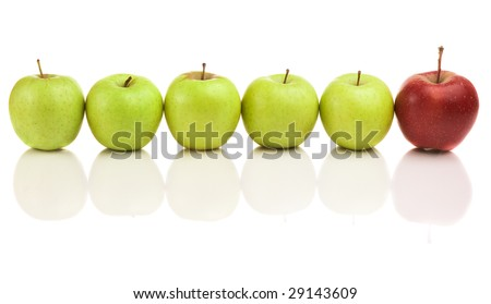 Green isolated apples with red leader - stock photo