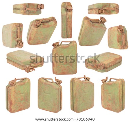 Green jerrycan isolated on white. Clipping path included. - stock photo