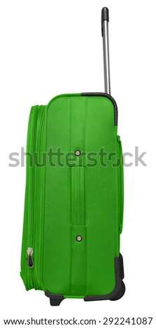 Green journey suitcase isolated on white. Clipping path included. - stock photo