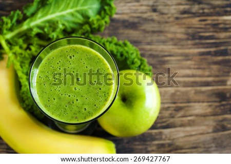 Green juice. Healthy drink. Top view - stock photo