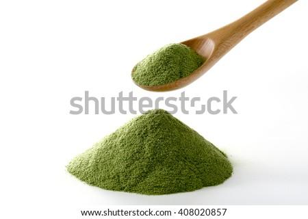 Green juice, powder - stock photo