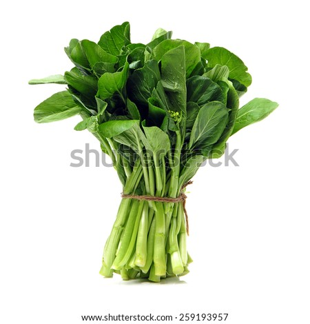 Green kale on a white background  - stock photo