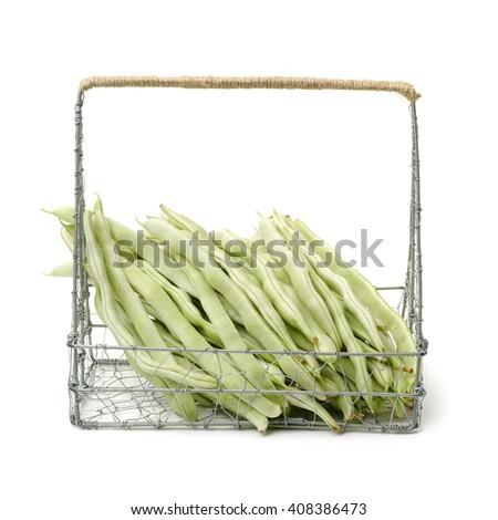 Green kidney bean on white background  - stock photo