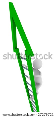 Green ladder of success - stock photo