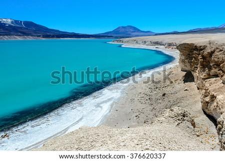 Green Lagoon (Laguna Verde), Chile  - stock photo